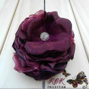 Burgundy Flower Hair Clip