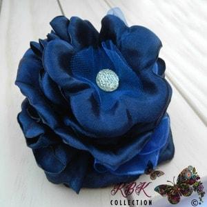 Navy Blue Flower Hair Clip