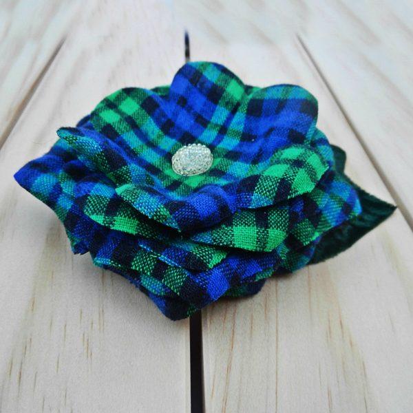 Blue Tartan flower brooch
