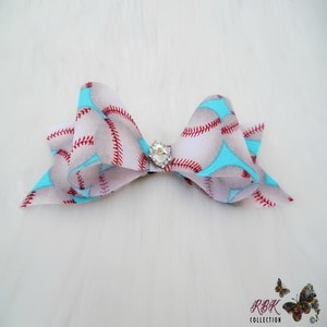 Aqua Baseball Hair bow Clip