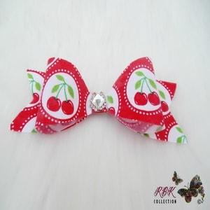 Red Cherries HAir Bow Clip